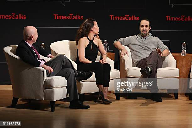 New York Times theater reporter Michael Paulson composer/arranger Jeanine Tesori and actor/composer LinManuel Miranda take part in TimesTalks at...