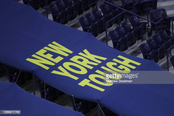 New York Tough signage at Arthur Ashe Stadium on Day One of the 2020 US Open at the USTA Billie Jean King National Tennis Center on August 31, 2020...