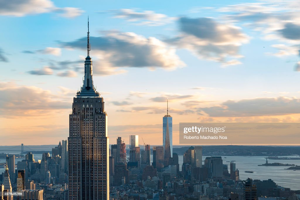 Empire State Building With One World Trade Center In The
