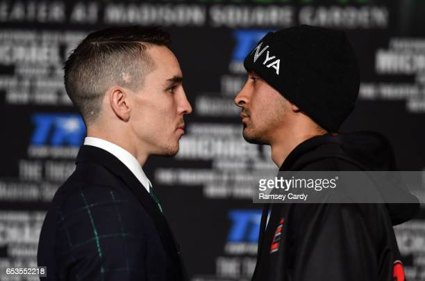 New York United States 14 March 2017 Michael Conlan left faces off with Tim Ibarra during a press conference in The Theater at Madison Square Garden...