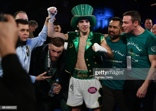 New York , United States - 17 March 2017; Michael Conlan after defeating Tim Ibarra, alongside Conor McGregor, Manny Robles and Matthew Macklin in...