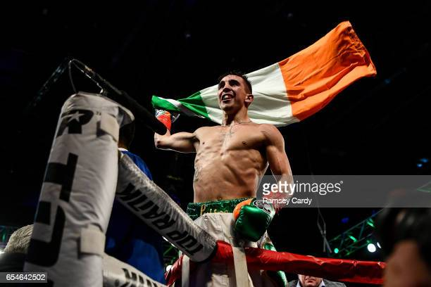 New York United States 17 March 2017 Michael Conlan celebrates after defeating Tim Ibarra in their featherweight bout at The Theater in Madison...