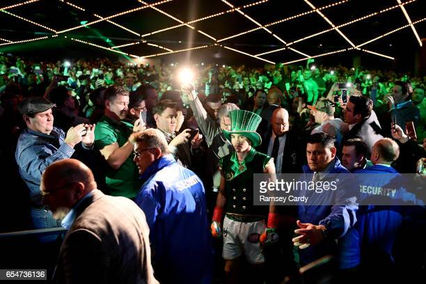 New York United States 17 March 2017 Michael Conlan makes his way to the ring ahead of his professional debut against Tim Ibarra in their...