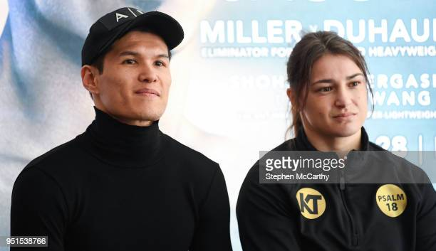 New York United States 26 April 2018 Daniyar Yeleussinov and Katie Taylor during a press conference at Mondrian Park Avenue ahead of the Straight...