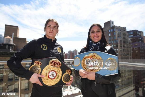 New York United States 26 April 2018 Katie Taylor and Victoria Bustos square off following a press conference at Mondrian Park Avenue ahead of their...