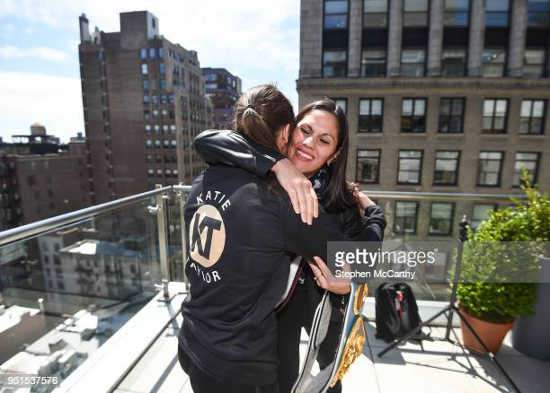 New York United States 26 April 2018 Katie Taylor and Victoria Bustos embrace after squaring off following a press conference at Mondrian Park Avenue...