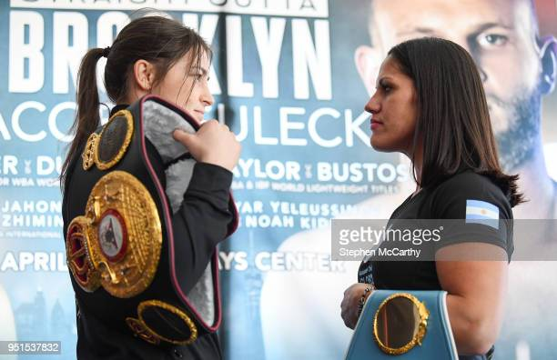 New York United States 26 April 2018 Katie Taylor and Victoria Bustos square off during a press conference at Mondrian Park Avenue ahead of their IBF...