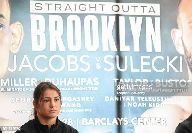 New York United States 26 April 2018 Katie Taylor during a press conference at Mondrian Park Avenue ahead of her Straight Outta Brooklyn fight night...