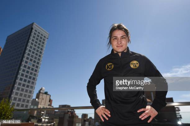New York United States 26 April 2018 Katie Taylor poses for a portrait prior to press conference at Mondrian Park Avenue ahead of her Straight Outta...