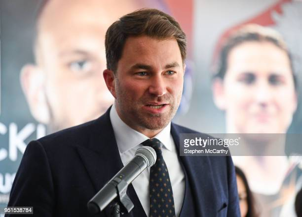 New York United States 26 April 2018 Promoter Eddie Hearn during a press conference at Mondrian Park Avenue ahead of the Straight Outta Brooklyn...