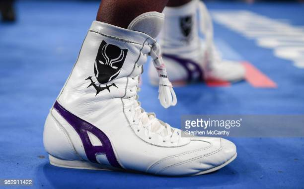 New York United States 28 April 2018 A detailed view of the boots worn by Jarrell Miller during his heavyweight bout with Johann Duhaupas at the...