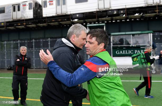 New York United States 5 May 2019 Mayo manager James Horan with New York manager Justin OHalloran after the Connacht GAA Football Senior Championship...
