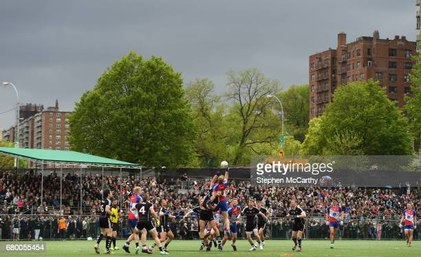 New York United States 7 May 2017 Conor McGraynor of New York and Adrian McIntyre of Sligo contest a hop ball during the Connacht GAA Football Senior...