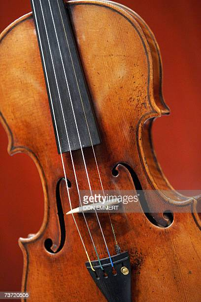 A 1729 Stradivari known as the 'Solomon ExLambert' is on display 27 March 2007 at Christie's in New York The fine musical instrument valued at USD...