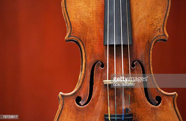 A 1729 Stradivari known as the Solomon ExLambert is on display 27 March 2007 at Christie's in New York The fine musical instrument valued at USD...