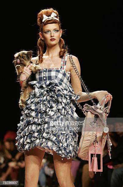 A model displays an outift from the Heatherette Fall 2007 collection during Fashion Week at Bryant Park 06 February 2007 in New York City AFP...