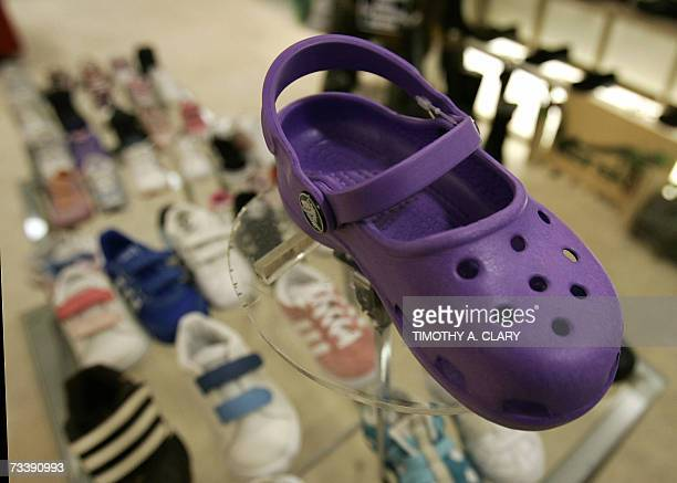 709a0e1004800 A sample of Crocs shoes on display in a midtown New York City shoe store 21