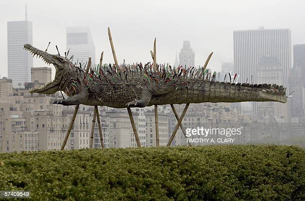 A sculpture titiled Move Along Nothing To See Here by Chineseborn artist Cai GuoQiang is diplayed to the press at the Iris and B Gerald Cantor Roof...