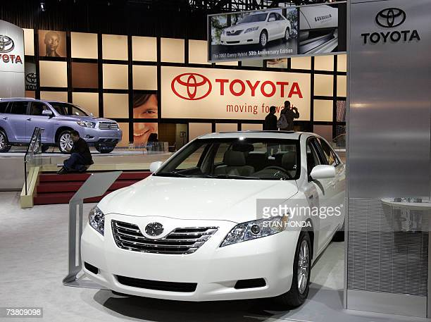 A Toyota Camry hybrid on display at the New York International Automobile Show during the press preview days 04 April 2007 in New York AFP PHOTO/Stan...