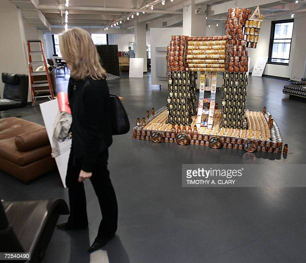 A Trojan Horse of cans titled ' TroCAN Horse ' by Arup is on display at 'Canstruction' in New York 14 November 2006 at the New York Design Center The...