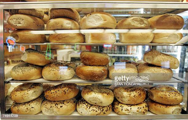 Bagels on display at Katz's Delicatessen on the Lower East Side of Manhattan 28 June 2007 at in New York AFP PHOTO/Stan HONDA