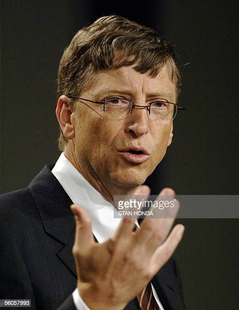 Bill Gates Microsoft chairman and cofounder of the Bill Melinda Gates Foundation speaks at a press conference 02 November at the Time Global Health...