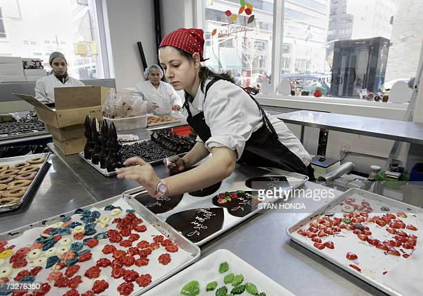 New York, UNITED STATES: Casey Freedman decorates large chocolate hearts, 09 February 2007, for Valentine's Day at Jacques Torres Chocolate in New...