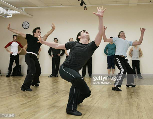 Dancers audition for the part of a Jet gang member in a new production of West Side Story 11 May 2007 at a studio in New York A new cast and touring...