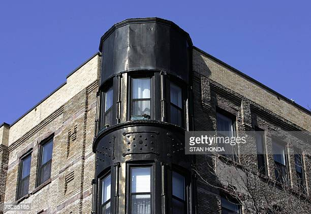 Detail on a brick apartment building on Clinton Street 05 February 2007 in the Brooklyn borough of New York A general development and revival trend...