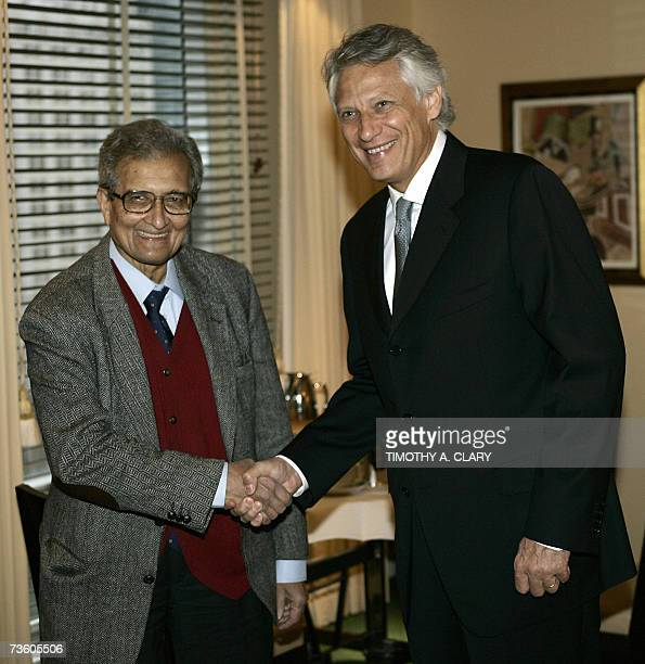 Dominique de Villepin Prime Minister of France meets with 1998 Nobel Laureate in Economics winner Amartya Sen at his hotel 16 March 2007 in New York...