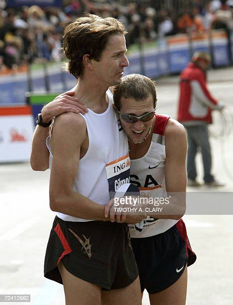 First US finishers Peter Gilmore 11th place and Dathan Ritzenhein 12th place after finishing the men's division of the New York Marathon 05 November...