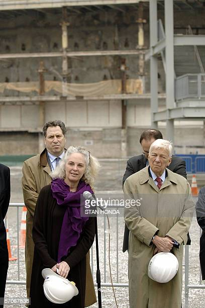Gretchen Dykstra President and CEO of the World Trade Center Memorial Foundation and John C Whitehead founding Chairman of the Foundation announce...