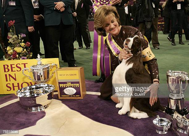 Kellie Fitzgerald poses with her English Springer Spaniel 'James' after winning Best in Show at the Westminster Kennel Club's 131st Annual Dog Show...