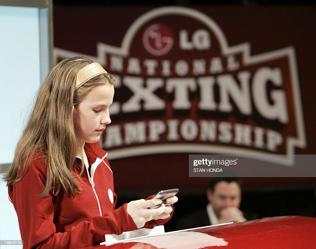 Morgan Pozgar of Claysburg, Pennsylvania, uses a phone to send a text message as she competes in the LG National Texting Championship, 21 April 2007, at the Roseland Ballroom in New York, sponsored by LG Mobile Phones. Pozgar, who is 13-years-old, won several rounds to become 'East Coast Champion' then defeated 'West Coast Champion' Eli Tirosh of Los Angeles in the finals, texting the message: 'Supercalifragilisticexpialidoucious! Even though the sound of it is something quite atrocious. If you say it loud enough you'll always sound precocious', without abreviations. AFP PHOTO/Stan HONDA