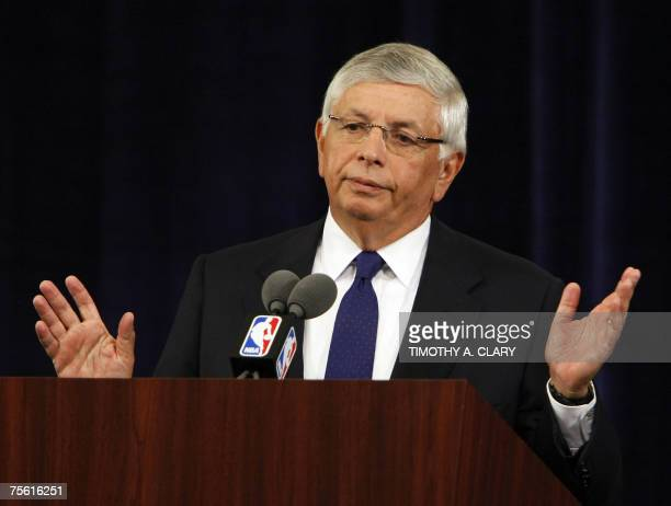 New York, UNITED STATES: National Basketball Association Commissioner David Stern takes questions during a news conference in New York 24 July...