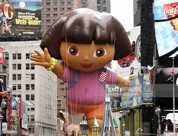 Nickelodeon's Dora the Explorer floats down Broadway during the annual Macy's Thanksgiving Day Parade in New York 24 November 2005 The 79th Macy's...