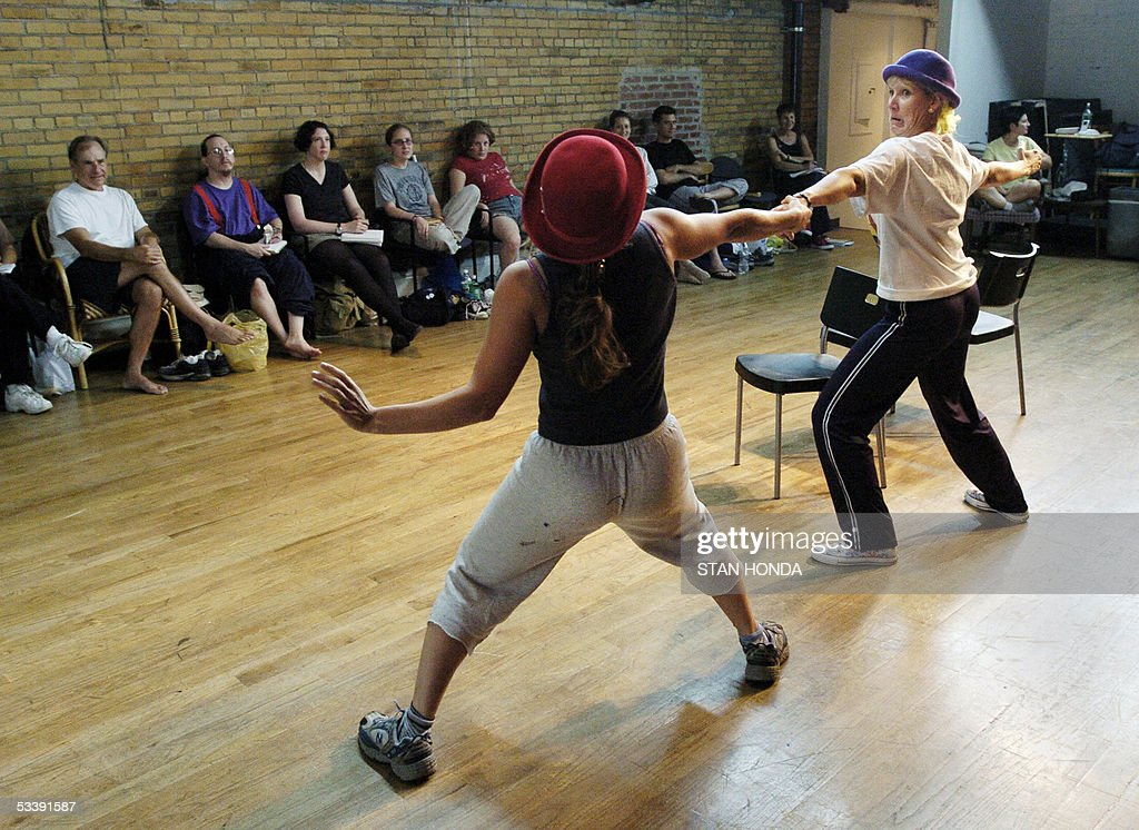Olivia Lehrman (L) and Nancy Barber (R) practice a routine at the New York Goofs Ultimate Clown School, 11 August, 2005, in New York. The two week session offers an intensive course of study in the art of clowning and is one of the few clown schools in the U.S. AFP PHOTO/Stan HONDA