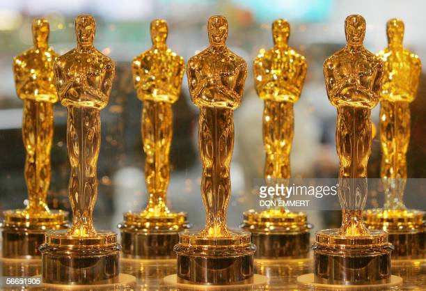 Oscar statuettes are displayed at Times Sqaure Studios 23 January 2006 in New York The statuettes will be presented to winners of the 78th Academy...