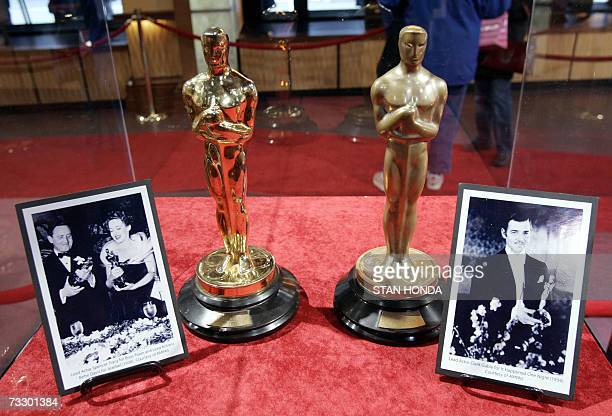 Oscar statuettes presented to Bette Davis for her performance in 'Jezebel' and Clark Gable for his performance in 'It Happened One Night' are on...