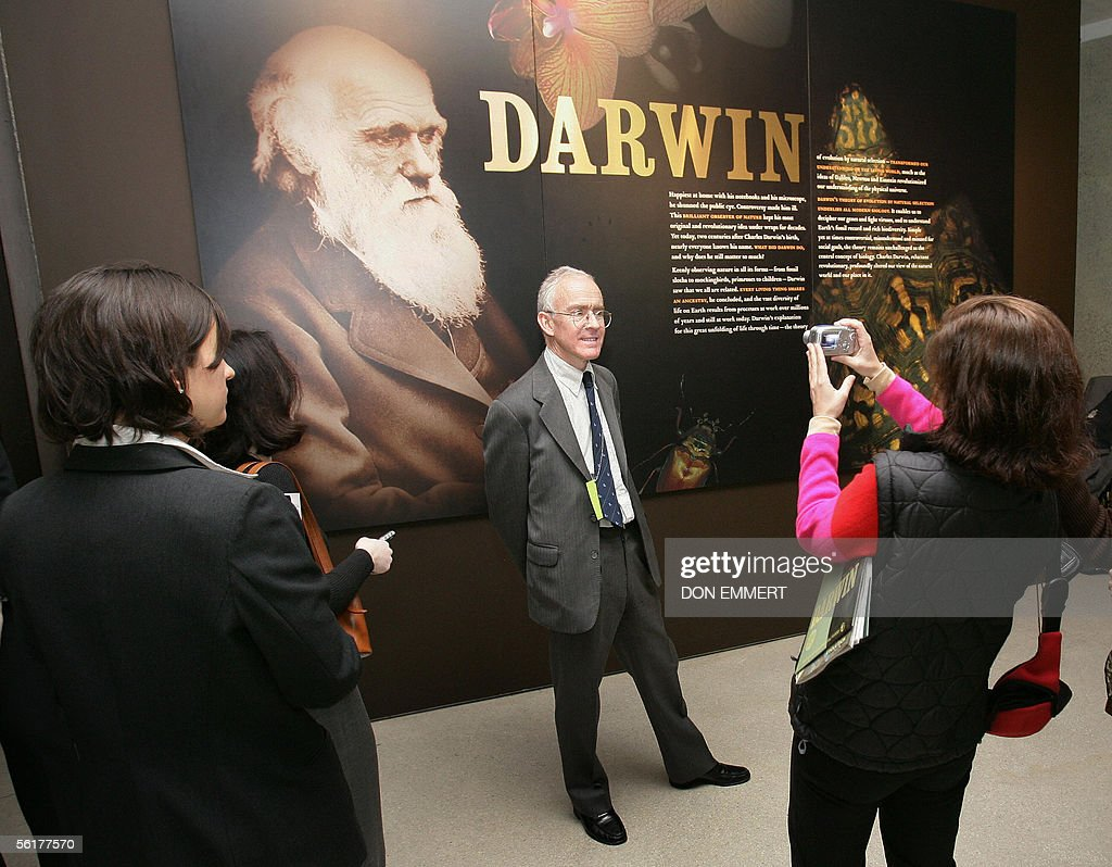Randal Keynes has his photo taken as he answers questions about his great-great-grandfather, Charles Darwin, 15 November 2005 at the American Museum of Natural History in New York. Keynes was on hand for the media preview of the exhibit 'Darwin' due to open to the public 19 November 2005.