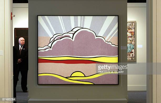 Roy Lichtenstein's 'Sinking Sun' is shown to the media during a press preview 28 April 2006 at Sotheby's New York to promote the evening sale of...