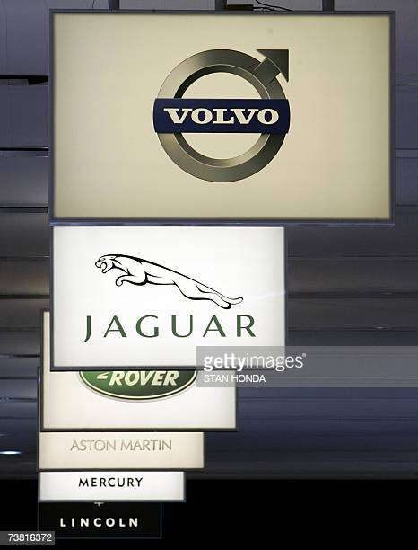 Signs Showing Various Brands Owned By The Ford Motor Company At New York International Automobile