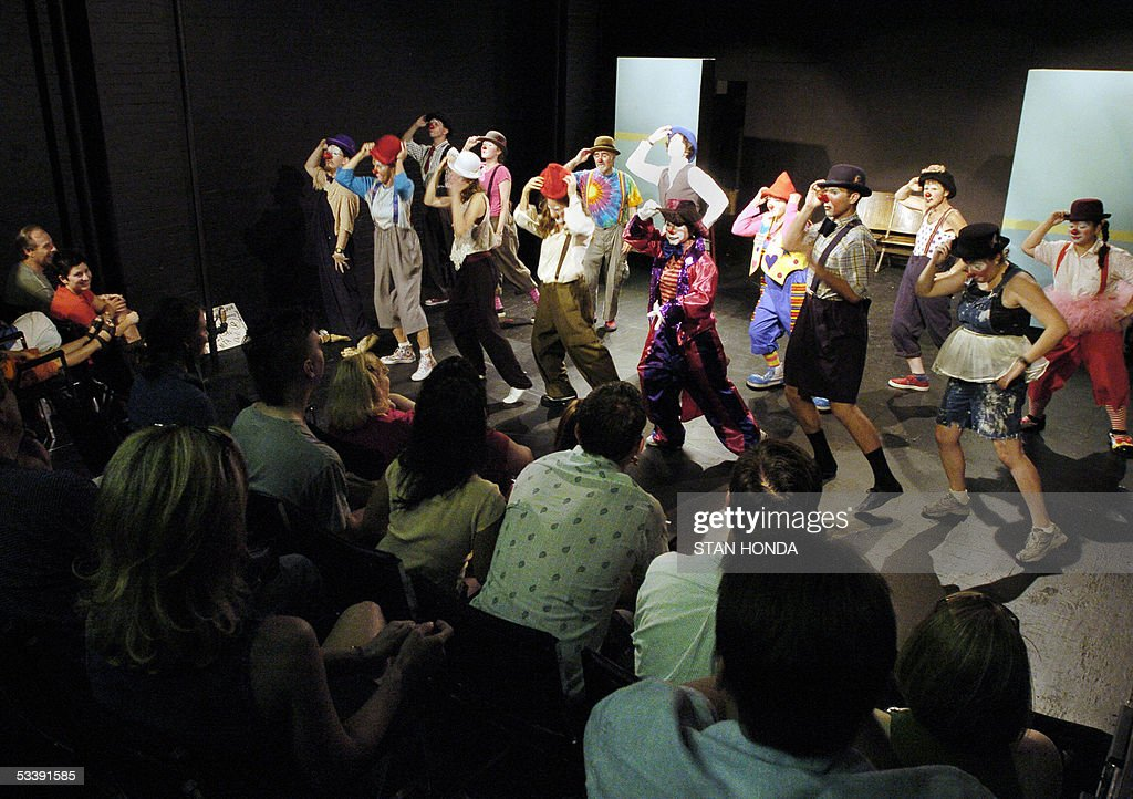 Students of the New York Goofs Ultimate Clown School stage a performance before family and friends, 14 August, 2005, in New York. The two week session offers an intensive course of study in the art of clowning and is one of the few clown schools in the U.S. AFP PHOTO/Stan HONDA