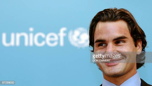 Tennis star Roger Federer of Switzerland talks to those gathered to see him join UNICEF as a Goodwill Ambassador 3 April 2006 in New York Like other...