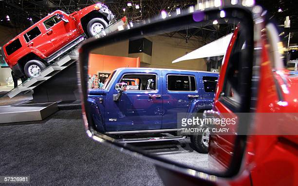 The 2007 Hummer H3 is on display during the opening day of the 2006 New York International Auto Show at the Jacob Javits Convention Center in New...
