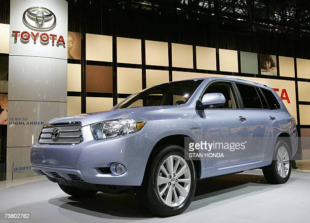 The 2008 Toyota Highlander hybrid SUV is on display at the New York International Automobile Show during the press preview days 04 April 2007 in New...