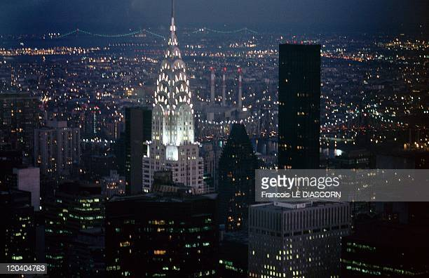New York United States The city of New York seen by night the Chrysler Building