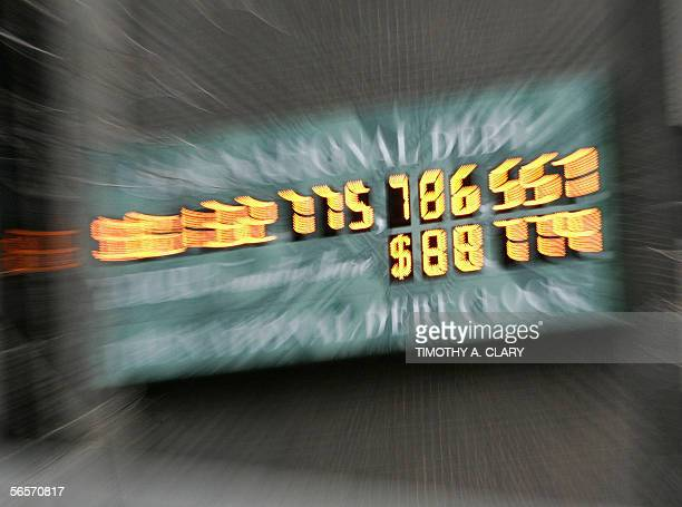 The National Debt Clock is pictured 11 January 2006 at Times Square in New York City US Treasury Secretary John Snow warned 30 December 2005 that...