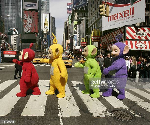 The world famous Teletubbies Po LaaLaa Dipsy and TinkyWinky cross 7th Avenue in Times Square in New York 27 March 2007 as they arrive on American...