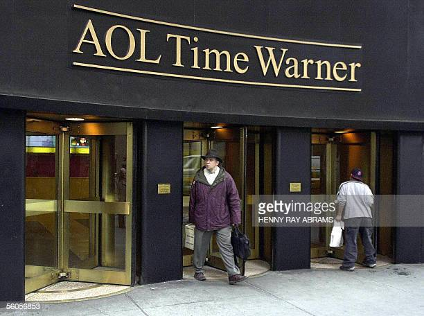 This 12 January file photo shows the new AOL Time Warner corporate logo on the former Time Warner Building in New York's Rockefeller Center Media and...
